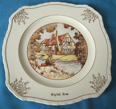 """Lovely Vintage 9"""" Plate Anglers Rest English Inns Staffordshire Fishing Angling"""