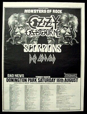 OZZY OSBOURNE MONSTERS OF ROCK DONINGTON 1986 Poster Ad SCORPIONS DEF LEPPARD