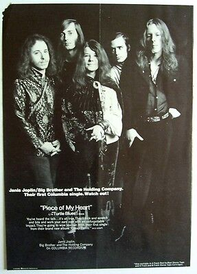 JANIS JOPLIN 1968 Poster Ad PIECE OF MY HEART Cheap Thrills big brother & the HC