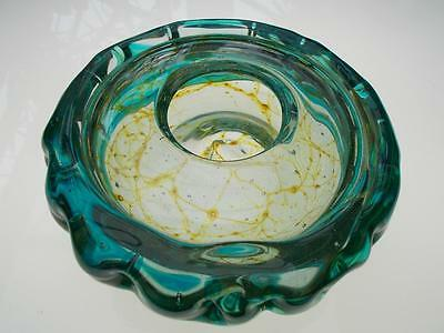 Stunning Mdina Crizzle Effect Heavily Strapped Shallow Art Glass Bowl / Vase 70s
