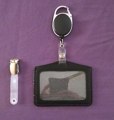 Horizontal ID badge holder with clip retractable reel- SIA, Security.