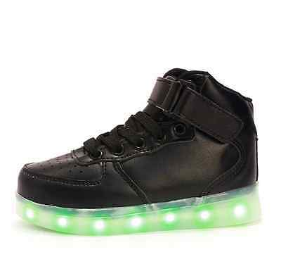 Kids' LED Light High Top Shoes Sneakers Fashion Party ankle Black Boots EU27-37
