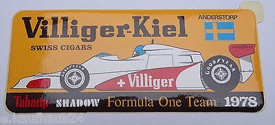 Aufkleber SHADOW FORMULA ONE TEAM 1978 Anderstorp Raceway Sticker Autocollant