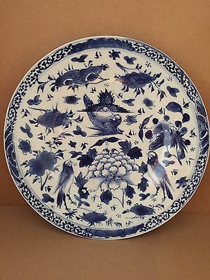 Beautiful Chinese Antique 18Th/19Th C Blue And White Porcelain Plate