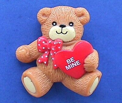 Buy3/Get1FREE~Lucy Rigg PIN Valentines BEAR Love Me HEART Vtg Enesco Holiday