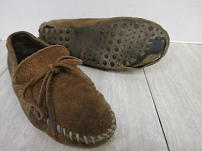 Minnetonka Suede Leather Moccasins Trashed Size 10 But Stretched to Fit a 12.