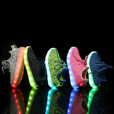 New 7 Color Unisex Boy Girls Luminous Breathable Sneakers Led USB Light Up shoes