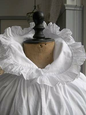 Antique French woman's heavy cotton blouse with ruffled collar - lagenlook 1890s