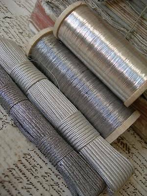 Convent find - 4 antique French reels skeins silver metallic thread - embroidery