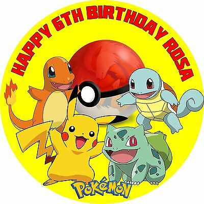 "Pokemon 8"" Personalised Icing Sheet Cake Topper Premium Qual"