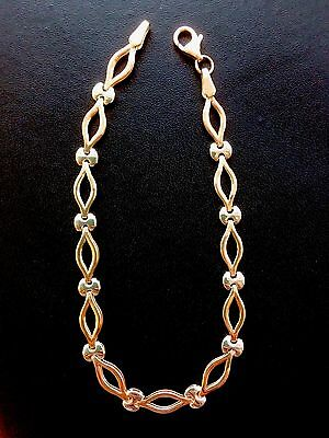 9ct Rose Gold With White Gold Links Bracelet. Hallmarked