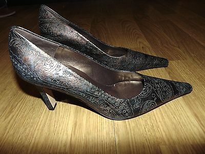 Peter Kaiser Ladies Heeled Court Shoes Bronze/gold Leather Size Uk6.5 Fabulous