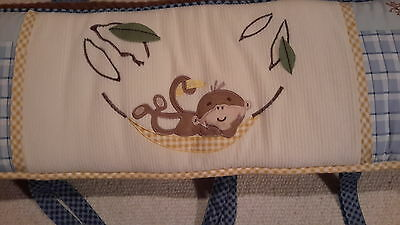 Cocalo Monkey Business Crib Bumper Pad In Blue,yellow, Brown