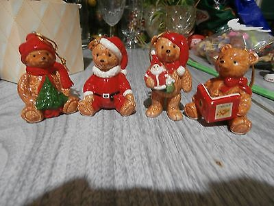 Vintage Gordon Fraser Christmas Teddy Bear Ornaments 4 Piece Schmid Dated 1984