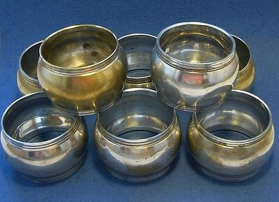 8x Vintage 1970s silver-plated electroplated napkin rings QTY 8