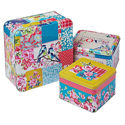 Cooksmart Oriental Patchwork Square Cake Tins, Multi-Colour, Set of 3