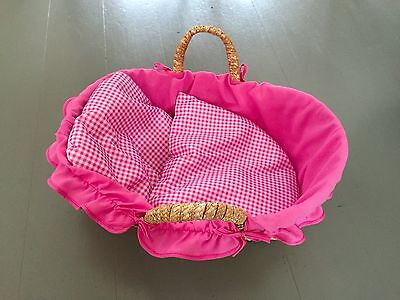NEW JOHN LEWIS Toy Doll Moses Basket With Handles & Gingham Bedding FREE P&P