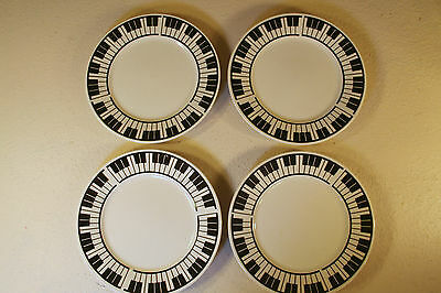 "Lynns Stoneware Piano Plates 7-1/2"" Keyboard Sandwich Snack Ceramic B&W Lot of 4"