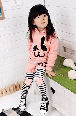 Lovely Girl's 2 pieces pink rabbit hooded top, short and legging set