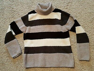 ladies size 14-16 soft towelling polo neck jumper grey striped VGC