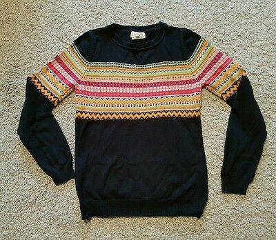 ladies size 10 NEXT loves knitwear navy blue jumper patterned christmas VGC