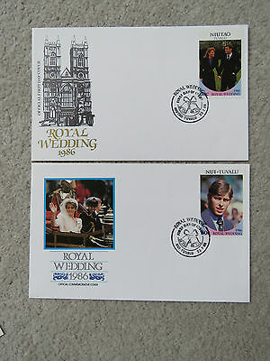 2x Vintage 1986 Tuvalu First Day Cover - Royal Wedding