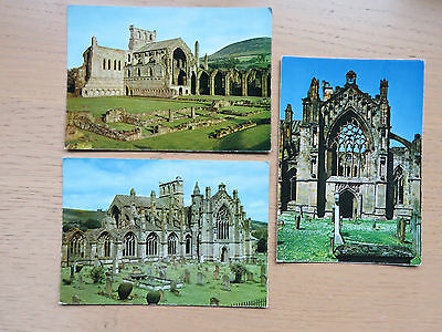3 Melrose Abbey real photo postcards