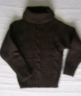 Vintage Chunky Cable  Polo-Neck Sweater - Age 6  Approx - Brown - New. Ref:J123