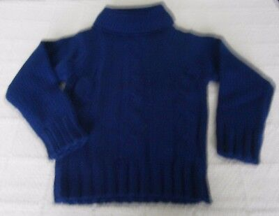 Vintage Chunky Cable  Polo-Neck Sweater - Age 6  Approx - Navy - New. Ref:J124