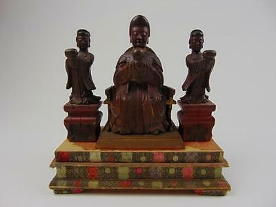 Antique Chinese  Carved  Lacquered Wood Goddess  w/ Two Attendants, 18/19th C