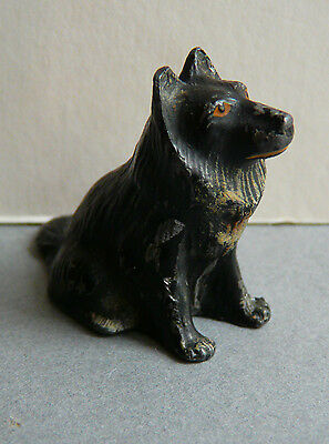 Antique cold painted metal Collie dog- very sweet. Unusual item.