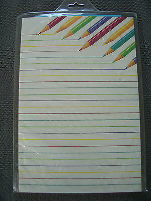 Colored Pencils Stationary Paper and Envelopes