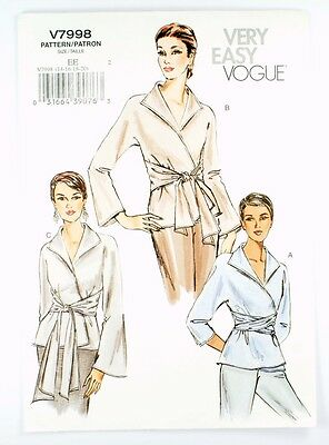 Vogue Very Easy V7998 uncut pattern c2004; blouses w/sleeve variation size 14-20