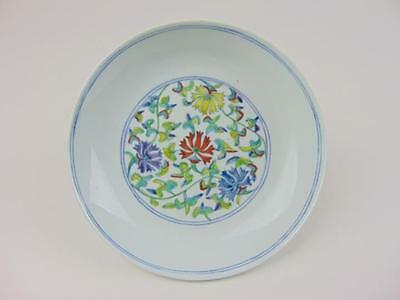 Chinese Doucai Dish with Floral Design, Daoguang Mark, 20th Century