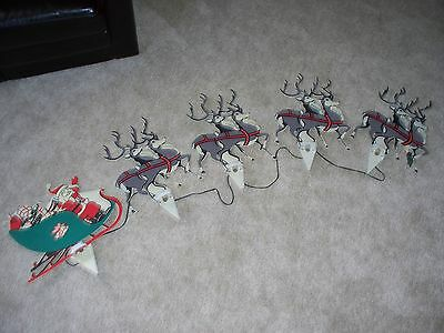 Vtg Xmas Santa & 8 Reindeer Outdoor Lights For Yard Or Garden Rare Set All Work!