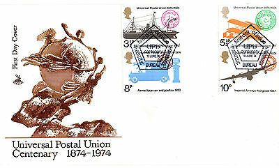 12 June 1974 Universal Postal Union Mercury First Day Cover Bureau Shs