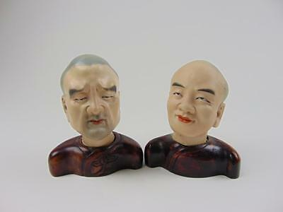 Two Antique Chinese Male Figure Heads on Stands, Zeng Longsheng Studio, Republic