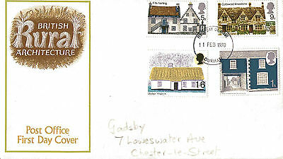 11 February 1970 Rural Architecture Post Office First Day Cover Durham Fdi
