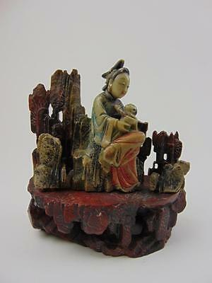 Antique Chinese Figural Soapstone Carving, Mother and Infant, 18/19th Century