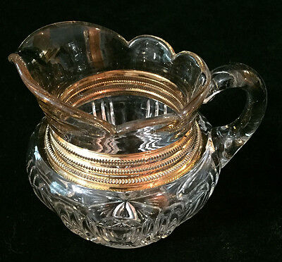 Pattern Glass one cup PITCHER with Golden Necklace- Absolutely Gorgeous