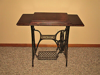 Collectible TABLE DESK: Antique Singer Sewing Machine Treadle Base & Wood Top