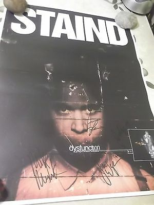 STAIND 1999  DYSFUNCTION FULLY AUTOGRAPHED PROMO POSTER 18x24