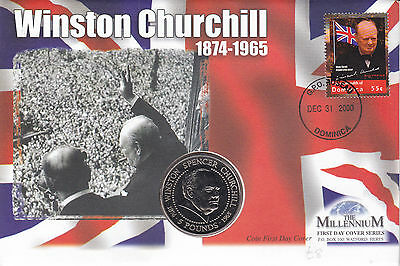 DOMINICA 31 DECEMBER 2000 SIR WINSTON CHURCHILL LE COMMEMORATIVE COIN COVER SHSs