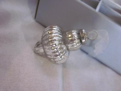 6 Vintage Silver Mercury Glass Kugel Style Christmas Holiday Ornaments New Box