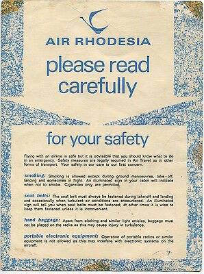 Air Rhodesia Viscount Safety Card Vickers