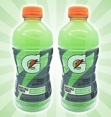 x2 Lime Cucumber Gatorade Bottle Nuestro Sabor Limon Pepino LIMITED EDITION 28OZ