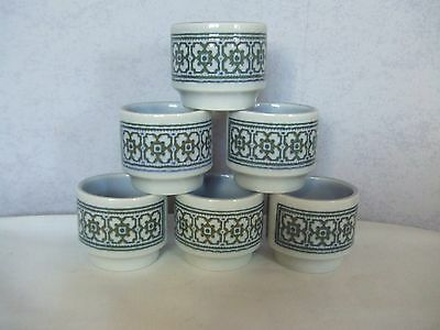 6 x Hornsea Tapestry egg cups in Excellent Condition Vintage Retro