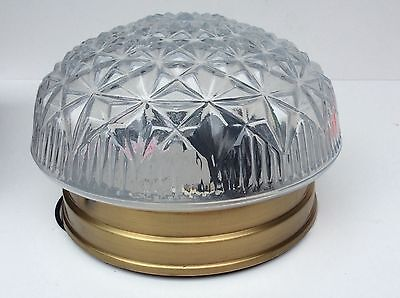 Vintage 80s Ceiling Light Fixture Pressed Crystal Glass