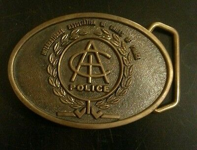Vintage International Association of Chiefs of POLICE Brass Belt Buckle RARE