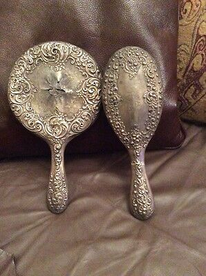 A SILVER PLATED DRESSING TABLE HAND MIRROR AND BRUSH Vintage Old Distressed